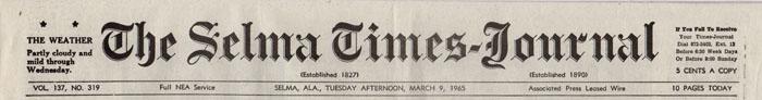 Selma Times, March 9, 1965 Top strip