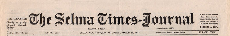 Selma Times, March 11, 1965, Top Strip