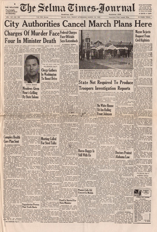 Selma Times, March 12, 1965, Cover Pg copy