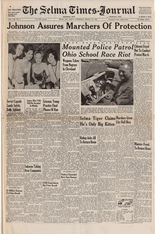 Selma Times, March 19, 1965 Cover pg copy