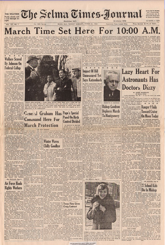 Selma Times, March 21, 1965, Cover Pg copy