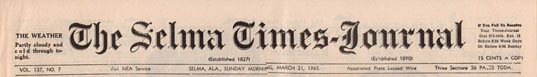 Selma Times, March 21, 1965, Cover top strip