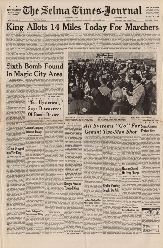 Selma Times, March 22, 1965, Cover Page copy