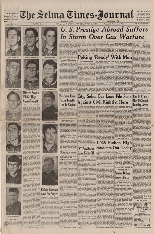 Selma Times, March 25, 1965, Cover Pg copy